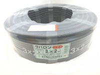 切売り!! ラバロンプラス VCT 2.0×3c 黒(600V耐熱ビニル絶縁キャブタイヤ丸形ケーブル)